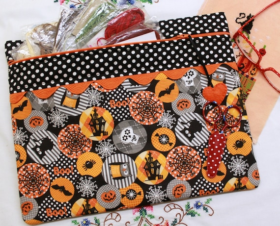 Polka Dot Halloween Cross Stitch, Sewing, Embroidery Project Bag