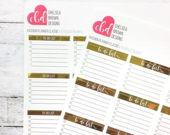 Foiled To-Do List Blocks   Passion Planner Stickers for the Classic Pro and Compact Size