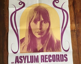 Joni Mitchell 1972 Asylum Records Original Rare Vintage Music Poster