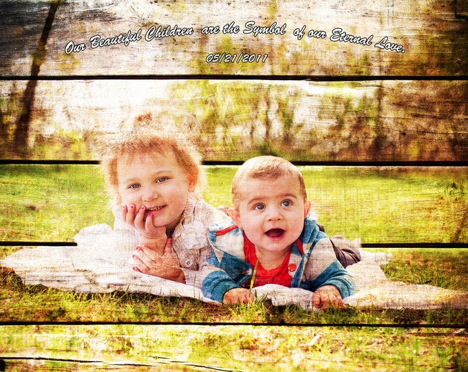 Custom Family Portrait Couple Portrait Gift Rustic Home Decor Photo Gift New Mom New Dad Children Photo Gift Wall Art Art Prints 16x20