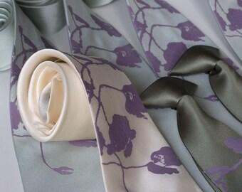 6 microfiber wedding neckties, groomsmen group discount, matching screenprinted vegan-safe ties
