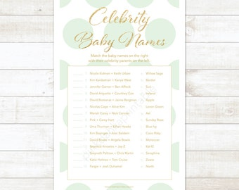 mint and gold celebrity baby names baby shower matching game card mint and gold glitter baby shower digital game - INSTANT DOWNLOAD