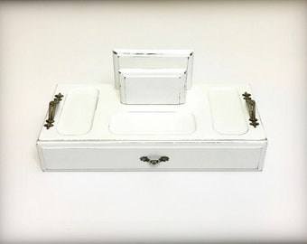 White Valet Tray, New Grey Felt Lining, Organizer Tray, Catchall Tray, Hallway Tray, Key Wallet Tray, Coin Change Tray, Gift For Men Women
