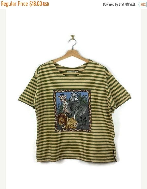 On Sale Vintage Olive Green/Beige Stripe Animal Printed Short Sleeve T Shirt  From 80's by Etsy