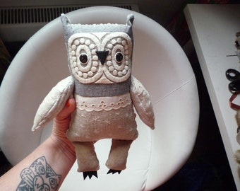 Daniela  owl  , soft art textile  creature   by  Wassupbrothers, buho boho  friend, stuffed  doll , recycled retro  vintage grey gray