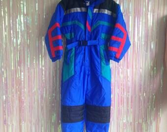 Vintage 80s Kids boys snow suit ski color block