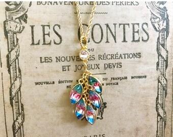 Vintage old glass iris and swarovski crystal cluster necklace
