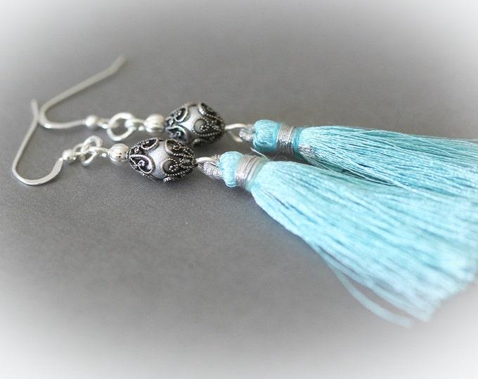 Turquoise Blue Silk Tassel Earrings. Long Silk Tassels on Sterling Silver Earring Wires