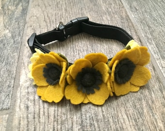 Yellow flower Pet Collar, Dog collar, Pet collars, Cat collar, dog of honor, show dog accessories, pet accessories, puppy collar, dogs