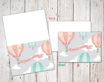 Pink & Teal Hot Air Balloon - Thank You Cards - Digital File