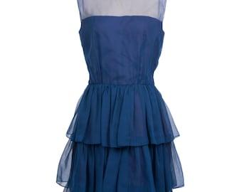 Vintage 80s navy blue collared evening dress - 80s sheer formal dress - 1980 vintage evening gown
