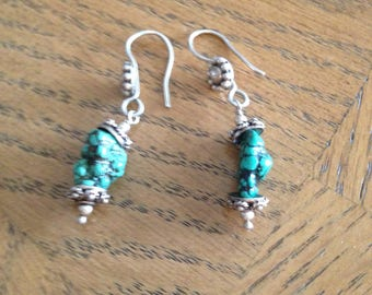 Sterling Silver Turquoise Stone Earrings