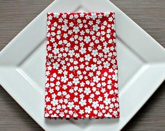 Cotton Napkins, Cloth Dinner Napkins, Set of 4, Red Floral Print, Housewarming Gift, Hostess Gift,  Eco-Friendly, Reusable