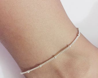 Silver Beaded Chain Anklet, Silver Chain Anklet,  Silver Anklet Bracelet , Chain Anklet, Beach Anklet, Beaded Anklet, Boho Anklet, Anklet