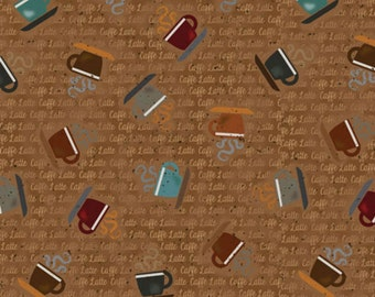 Caffe Latte by Trena Olsen Cups & Words on Brown for Spectrix Fabrics by the Yard