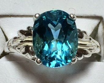 London Blue Topaz silver ring size 7