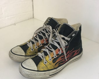 bc49e9538dfc Vintage 90s 1990s RARE Flame Fire Original Converse High Top Chuck Taylor  All Stars Collectable UK