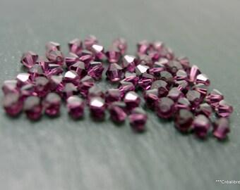 30 perles toupies facettées prune cristal swarovski 4 mm