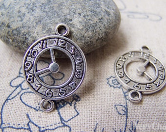 10 pcs of Antique Silver Clock Connector Charms 18x25mm A2893
