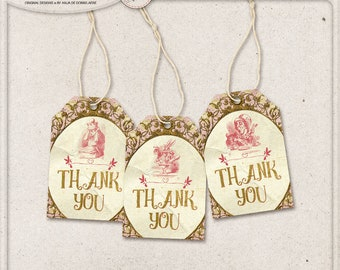 Mad Tea Party Decorations, Thank You, Printable Alice In Wonderland Tags, White Rabbit, Instant Download, Digital Hang Tags, Pink And Gold