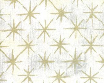 Grunge Seeing Stars Metallic Vanilla - Basic Grey - 30148 11M - Metallic Stars - Moda Fabrics