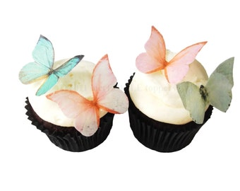 Edible Butterflies - 24 Coral and Mint - Sage  - WEDDING CAKE Topper, Spring Wedding, Cupcake Decorations