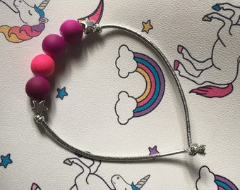 Silver elastic thread, beads Silver Star bracelet bright pink and purple beads