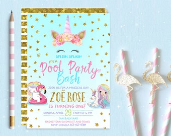 Unicorn pool party Etsy