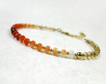 Mexican Fire Opal Ombre Bracelet, October Birthstone Gift, Citrine Bracelet,Dainty Stacking Bracelet, Ombre Gemstone Bracelet , Gft for Her