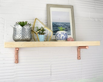 Scaffold Shelf With Copper Brackets, Natural Timber