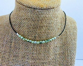 THE CRYSTAL CORD - Pale Green Balls Leather Cord