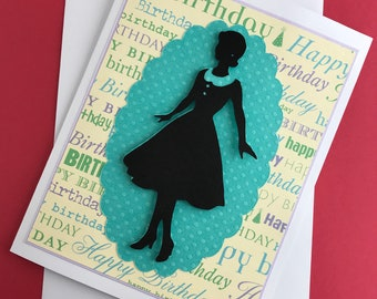 Silhouette Happy Birthday handmade card