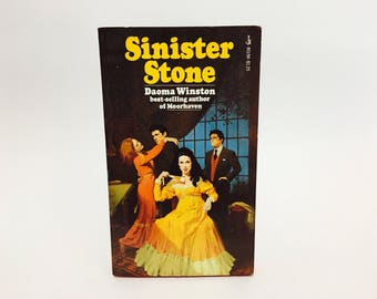 Vintage Gothic Romance Book Sinister Stone by Daoma Winston 1975 Paperback