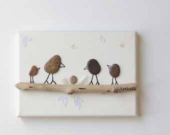 Table birth - Deco - Driftwood - bird painting - egg - nest birthstone - gift
