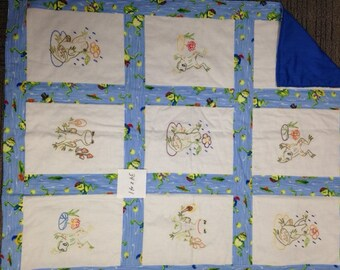 Hand Embroidered toddler/baby quilt