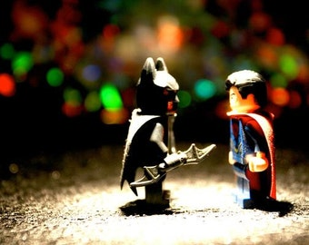Superman vs Batman Legos - Photograph - Various Sizes