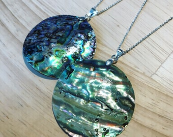 Abalone shell neckalce natural on dainty silver chain