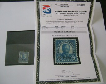 1929 5 Cents US Stamp President Theodore Roosevelt Nebr. Unused Scott # 674 PSE VF 80 Mint Original Gum Never Hinged, Old Collectible Stamps