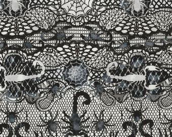 Fabric Timeless Halloween Lace scorpions spiders webs black gray Victorian Goth Gothic C5250
