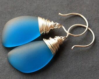Teal Seaglass Earrings. Teal Earrings. Teal Sea Glass Earrings. Wire Wrapped Wing Earrings. Handmade Jewelry.