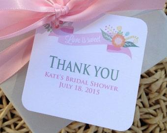 Bridal Shower Favor Tags, Love is Sweet Bridal Shower Favor Tags, Bridal Shower Gift Tags, Floral, printable, DIY