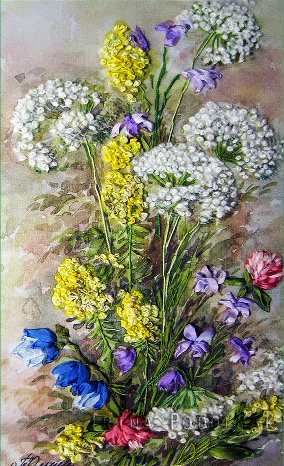 Silk Ribbon Embroidery Wildflowers Full Kit From Silkribbonkits
