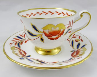 Royal Chelsea Dynasty Tea Cup and Saucer, Blue, Orange, and Gold Floral