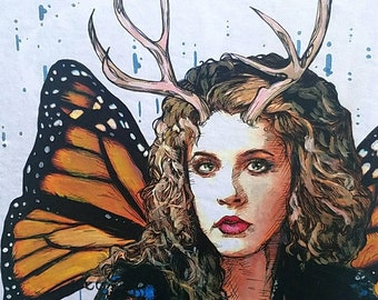 Stevie Nicks Fairy original giclee print - antlers and Monarch butterfly