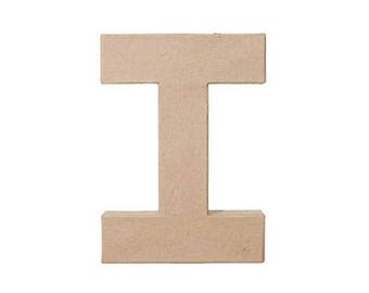 12 Inch Paper Mache Letter I, Cardboard Letters, Kids Crafts, Party Decor, Craft Supplies, DIY, Home Decor