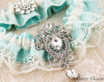Blue Wedding Garter Set, Something Blue, Aqua Blue Bridal Garter Set, Ivory Lace Garter Set, Blue Lace Wedding Garter Set, Ivory Garter Set