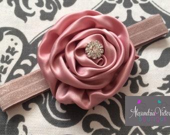 VINTAGE PINK HEADBAND, dusty rose headband, holiday headband, mauve headband, silky flower.