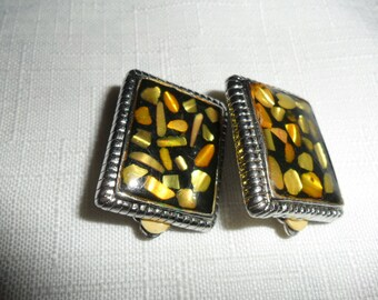 Vintage Black and Gold Silver Toned Clip-On Earrings