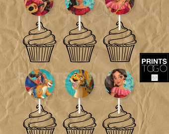 Elena of Avalor Cupcake topper, Birthday Party Supplies, Princess Elena, Cupcake toppers, Birthday Decoration, Instant Download, Printable