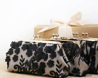 Embroidered Tulle Floral Bridal Clutch in black and champagne | Bridesmaid, mother of the bride Clutches
